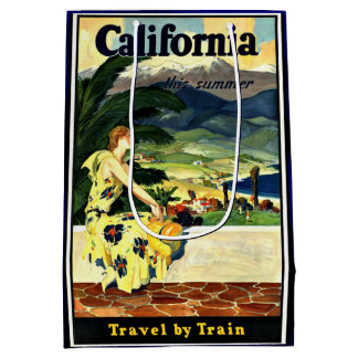 California Travel by Train vintage travel poster Medium Gift Bag