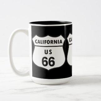 California US 66 Sign Two-Tone Coffee Mug