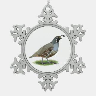 California Valley Quail Snowflake Pewter Christmas Ornament