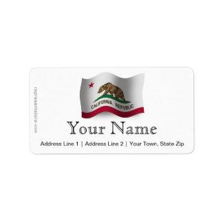 California Waving Flag Label