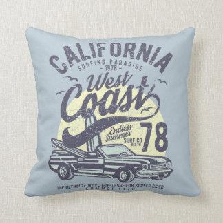 California West Coast Surfing Paradise Summer Throw Pillow