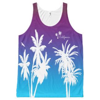 California White Palm Trees Purple Sunset Custom