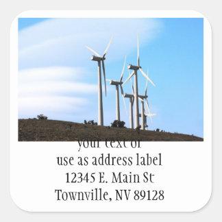 California Windmills Square Stickers
