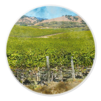 California Wine Vineyard Ceramic Knob