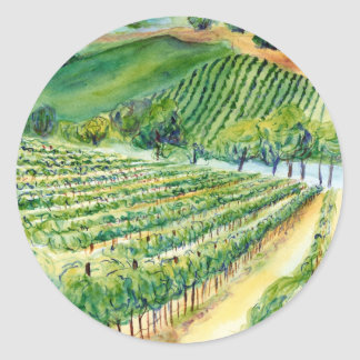 California Wine Vineyard Painting Sticker
