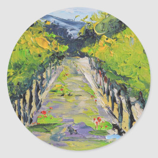 California winery, summer vineyard vines in Carmel Classic Round Sticker