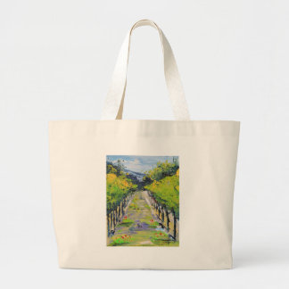 California winery, summer vineyard vines in Carmel Large Tote Bag