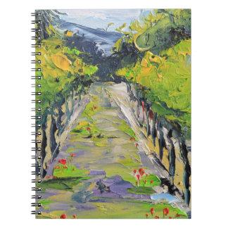 California winery, summer vineyard vines in Carmel Notebook