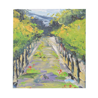 California winery, summer vineyard vines in Carmel Notepad