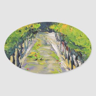 California winery, summer vineyard vines in Carmel Oval Sticker