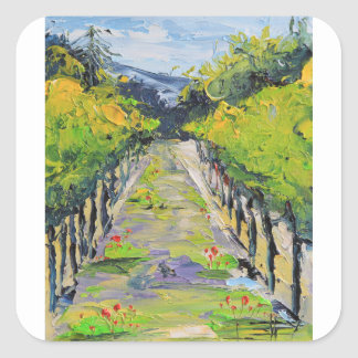 California winery, summer vineyard vines in Carmel Square Sticker
