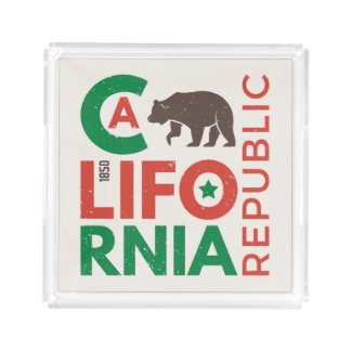 California With Grizzly Bear Logo Acrylic Tray