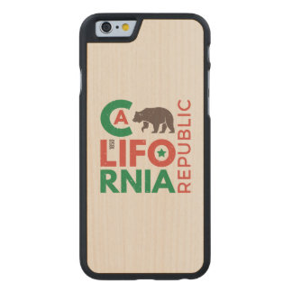 California With Grizzly Bear Logo Carved Maple iPhone 6 Case