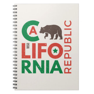 California With Grizzly Bear Logo Notebooks