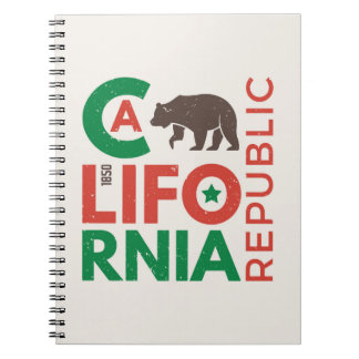 California With Grizzly Bear Logo Spiral Notebook