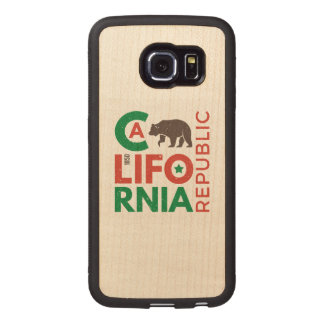 California With Grizzly Bear Logo Wood Phone Case