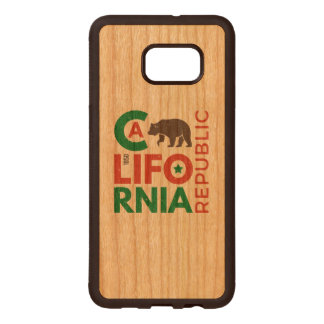 California With Grizzly Bear Logo Wood Samsung Galaxy S6 Edge Case