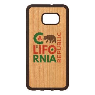 California With Grizzly Bear Logo Wood Samsung Galaxy S6 Edge Case