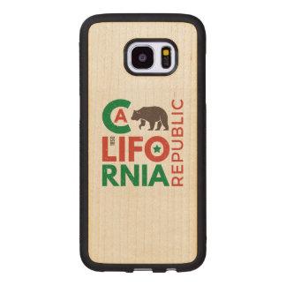 California With Grizzly Bear Logo Wood Samsung Galaxy S7 Edge Case