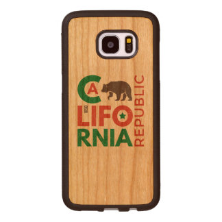 California With Grizzly Bear Logo Wood Samsung Galaxy S7 Edge Case