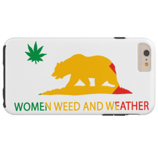 California Women Weed and Weather Flag Tough iPhone 6 Plus Case