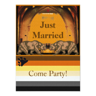 Californian Bear Just Married Party Invitation