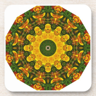 Californian Poppies Nature, Flower-Mandala Beverage Coasters