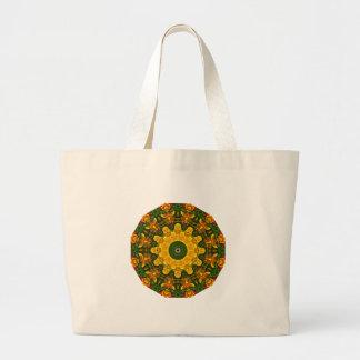 Californian Poppies Nature, Flower-Mandala Large Tote Bag