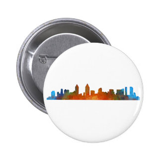 Californian San Diego City Skyline Watercolor v01 2 Inch Round Button