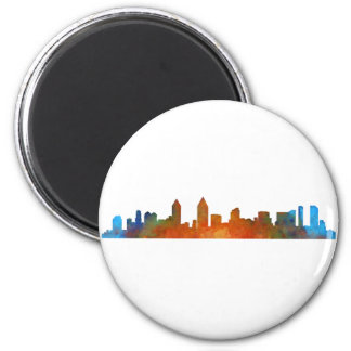 Californian San Diego City Skyline Watercolor v01 2 Inch Round Magnet