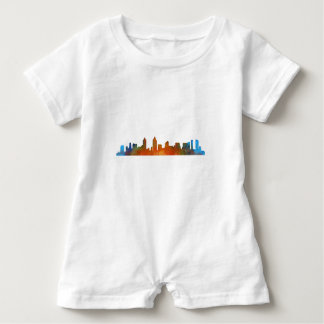 Californian San Diego City Skyline Watercolor v01 Baby Romper