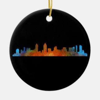 Californian San Diego City Skyline Watercolor v01 Ceramic Ornament