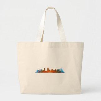 Californian San Diego City Skyline Watercolor v01 Large Tote Bag
