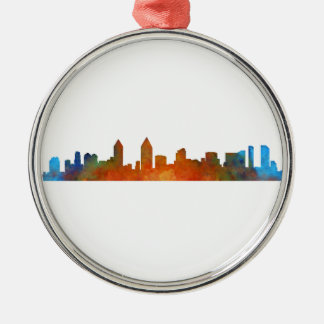 Californian San Diego City Skyline Watercolor v01 Metal Ornament