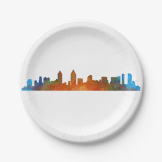 Californian San Diego City Skyline Watercolor v01 Paper Plate