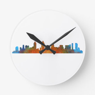 Californian San Diego City Skyline Watercolor v01 Round Clock