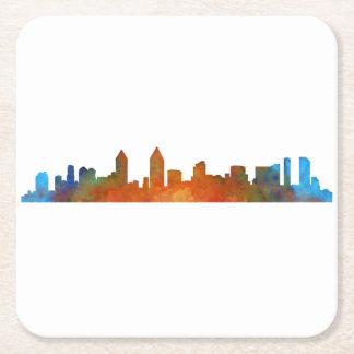 Californian San Diego City Skyline Watercolor v01 Square Paper Coaster