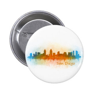 Californian San Diego City Skyline Watercolor v03 2 Inch Round Button