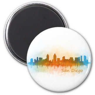 Californian San Diego City Skyline Watercolor v03 2 Inch Round Magnet