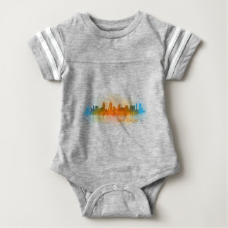 Californian San Diego City Skyline Watercolor v03 Baby Bodysuit