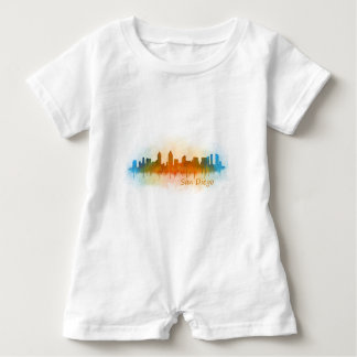 Californian San Diego City Skyline Watercolor v03 Baby Romper