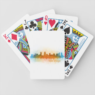 Californian San Diego City Skyline Watercolor v03 Bicycle Playing Cards