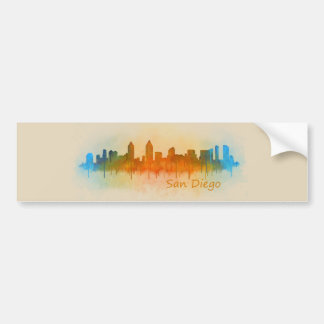 Californian San Diego City Skyline Watercolor v03 Bumper Sticker