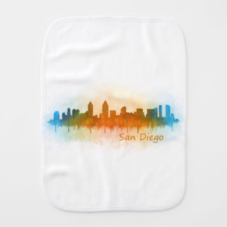 Californian San Diego City Skyline Watercolor v03 Burp Cloth