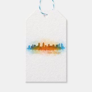 Californian San Diego City Skyline Watercolor v03 Gift Tags