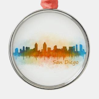 Californian San Diego City Skyline Watercolor v03 Metal Ornament