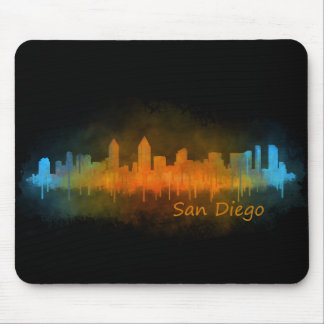 Californian San Diego City Skyline Watercolor v03 Mouse Pad