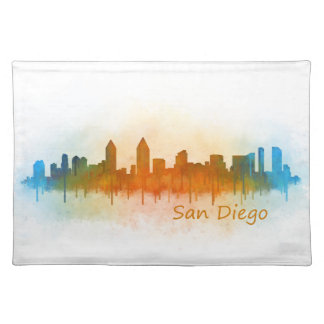 Californian San Diego City Skyline Watercolor v03 Placemat