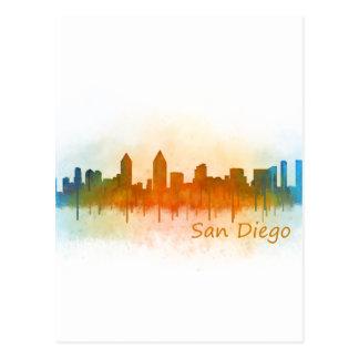 Californian San Diego City Skyline Watercolor v03 Postcard
