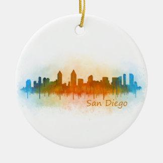 Californian San Diego City Skyline Watercolor v03 Round Ceramic Ornament